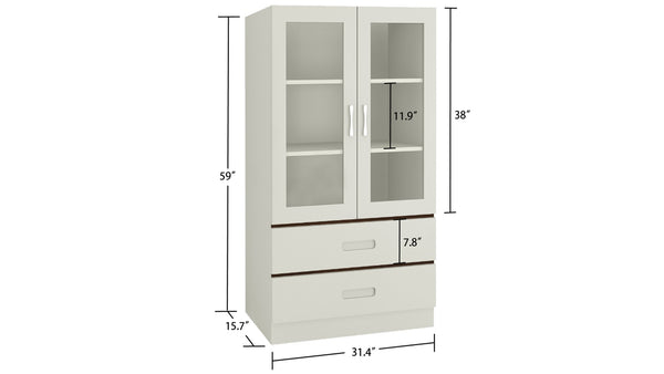 Adona Paloma Large Crockery-Cum-Bookshelf Cabinet with Toughened Glass Shutters and Drawers
