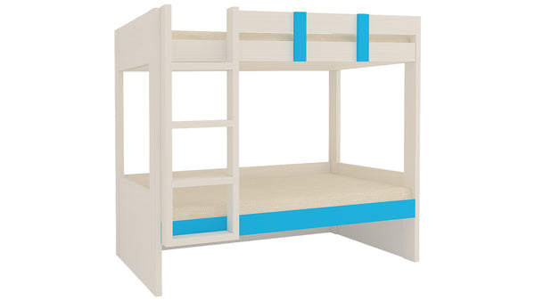 Adona Primera Light Wood Twin Bunk Bed Left Ladder