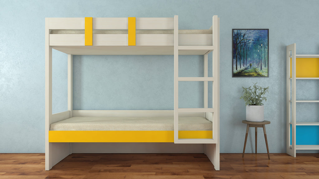 Adona Primera Light Wood Twin Bunk Bed Right Ladder