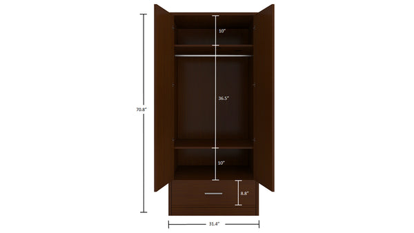 Adona Primera 2-Door Wardrobe w/Drawer
