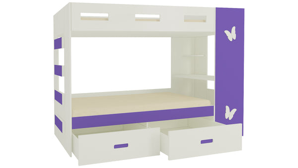 Adona Rio Butterfly Bunk Bed Left Ladder with Built-In Study Desk, Drawers, Shelves and Top Storage