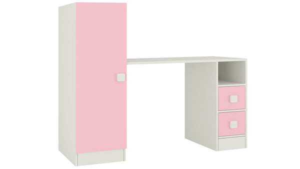 Adona Rio Kids Large Study Desk with Drawers, Built-In Bookshelf and Square Handles