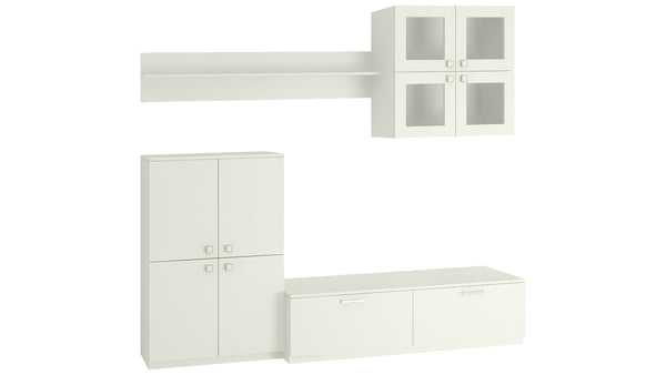 Adona Romano Set of TV Unit w/2 Drawers, Storage Cabinet, Wall Shelf and Display Unit
