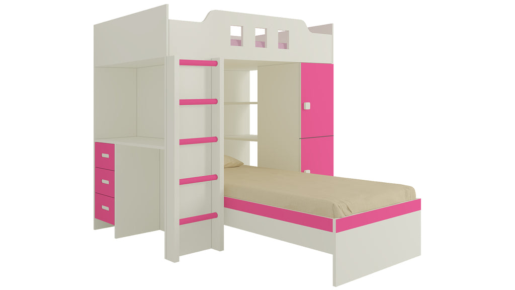 Adona Siona Twin Bunk Bed with Wardrobe, Study Desk, Open Shelves and Wooden Ladder