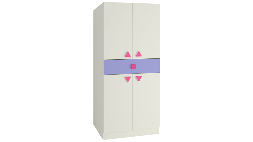 Adona Stella 2-Door Kids Wardrobe with Drawer and Triangle Shaped Knobs