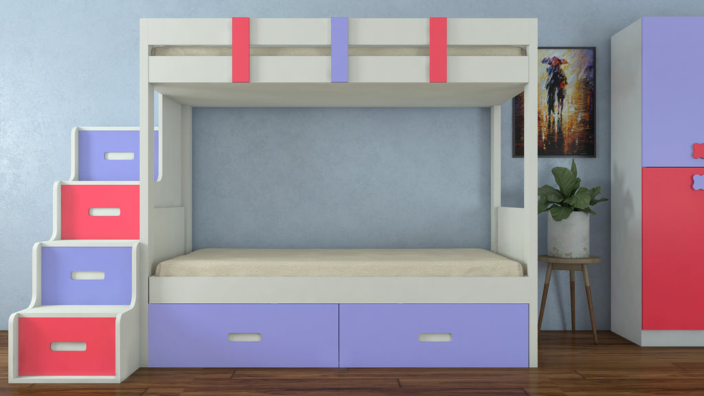Adona Suvina Twin Bunkbed w/Left Storage Steps And Drawers