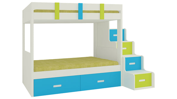 Adona Suvina Twin Bunkbed w/Right Storage Steps And Drawers