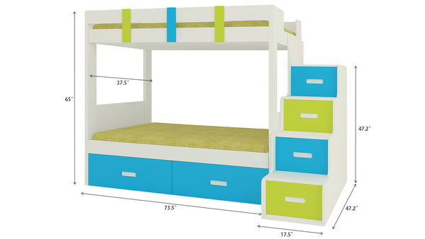 Adona Suvina Kids Room Furniture Set w/Twin Bunkbed, Right Storage Steps and 2-Door Wardrobe