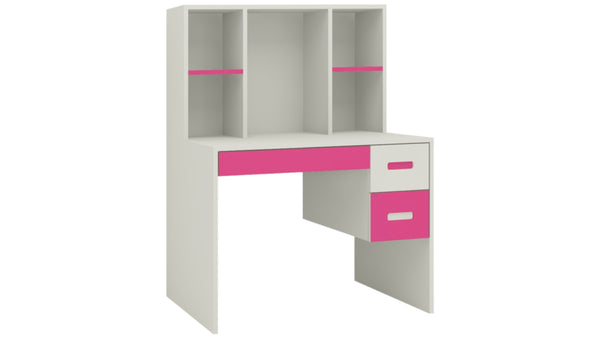 Adona Tiara Kids Study Desk w/3 Drawers and Built-In Bookshelf