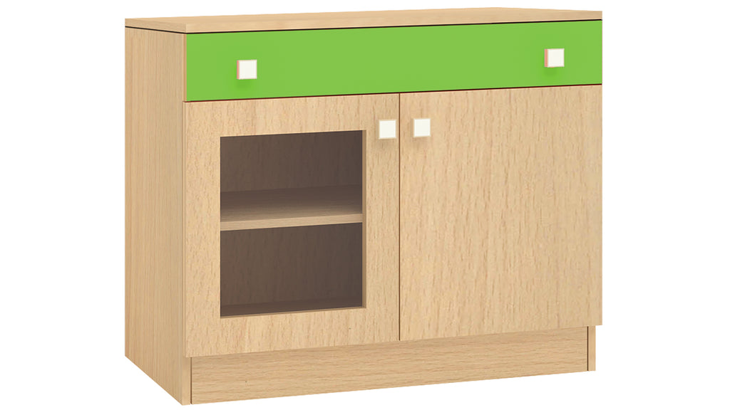 Adona Trinity Kids Storage Cabinet with Drawer and Glass Shutter