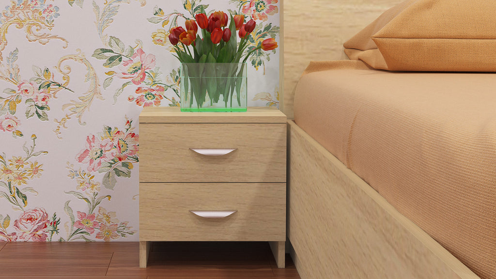 Adona Elanza Bedside Table w/2 Drawers And Curved Handles