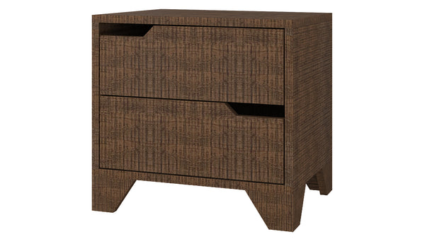 Adona Estella Bedside Table w/2 Handle-less Drawers And Tapered Legs