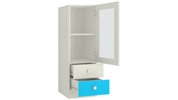 Adona Minerva Kids Bookshelf-cum-Storage Cabinet with Glass Shutter and 2 Drawers