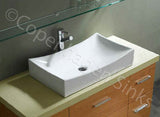 "25.75"" Length X 15.5""  X 5.5"" High White Porcelain Rectangle Modern Design Bathroom Vessel Sink HGTV 59"