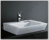 26 in White Porcelain Rectangle Modern Bathroom Vessel Ceramic Sink Basin HGTV 55