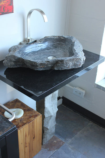 30 Quot Natural Stone Hand Made Vanity Pedestal Vessel Sink