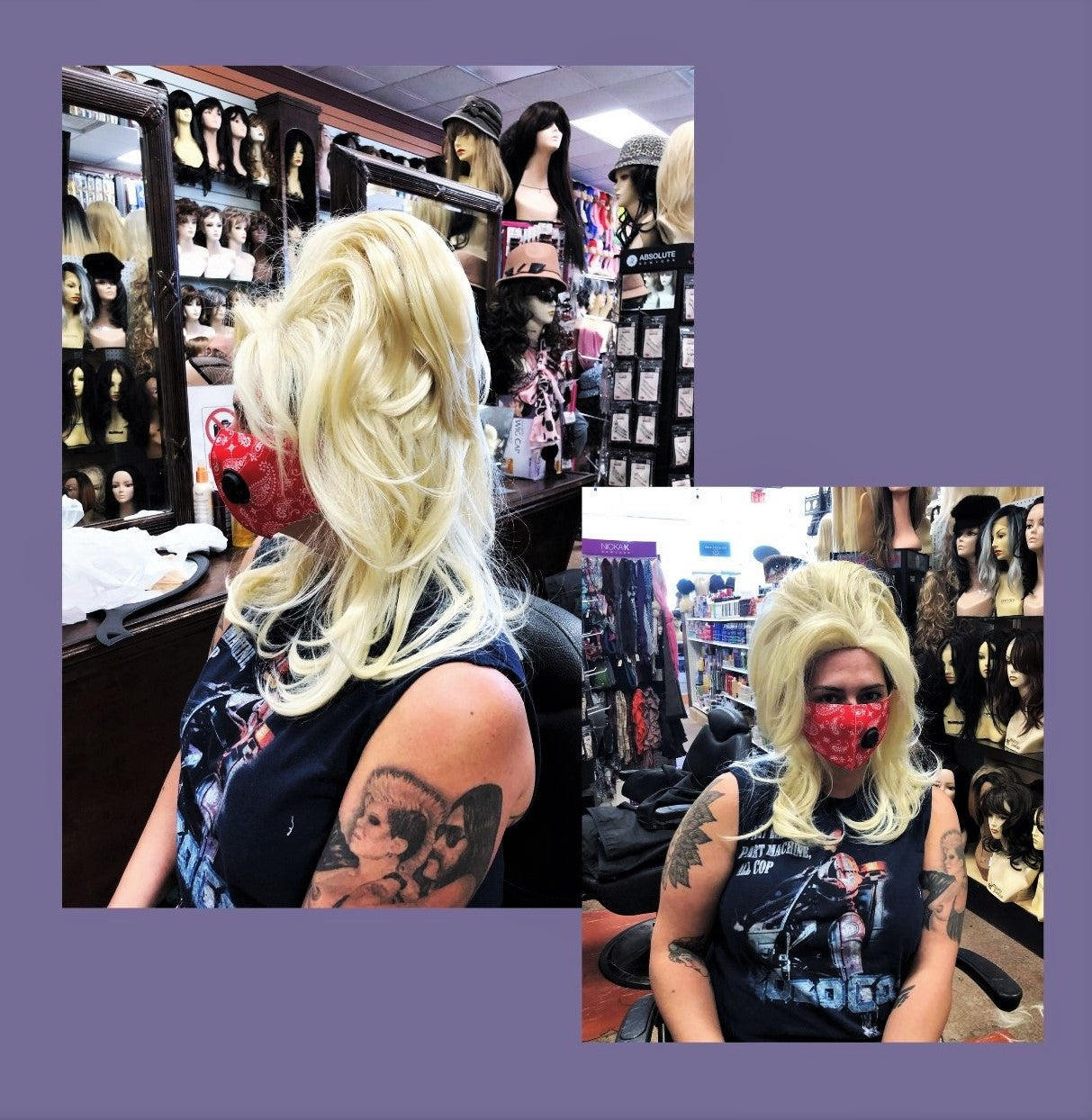 customer with high updo hairstyle party wig for halloween