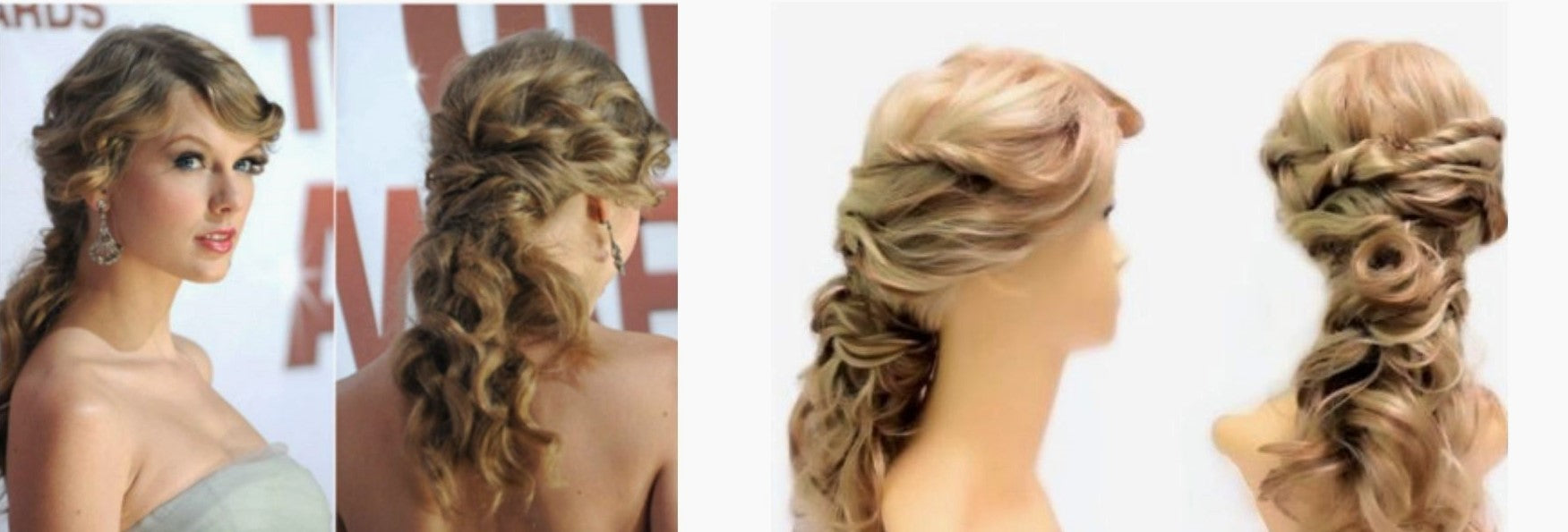 before after wig styling for taylor swift