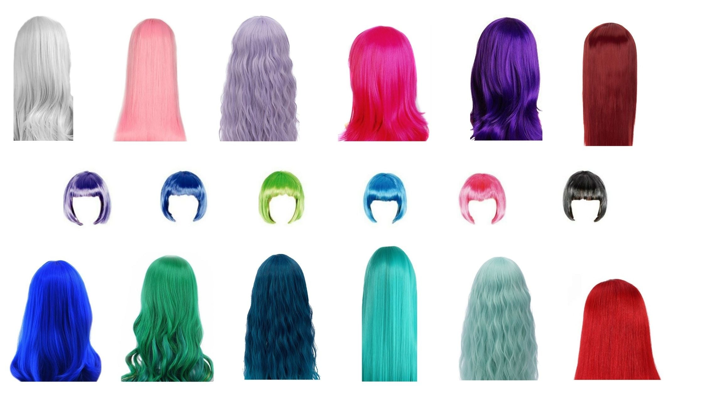 display of long short curly straight colorful and fun party wigs at wig ave austin tx