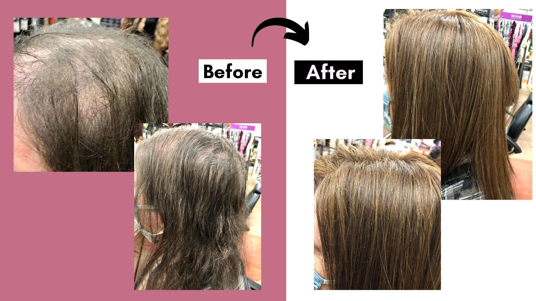 close up before and after of hand sewn wig repair