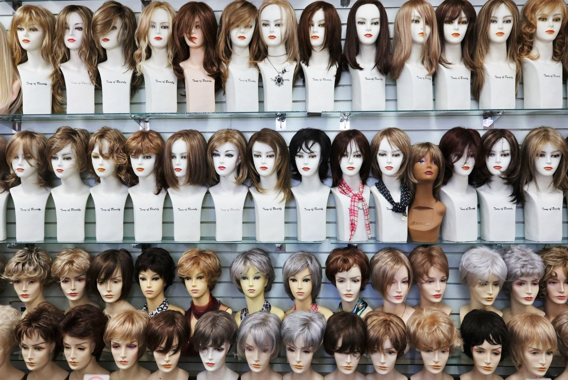 full shot of wigs in wig ave displayed;
