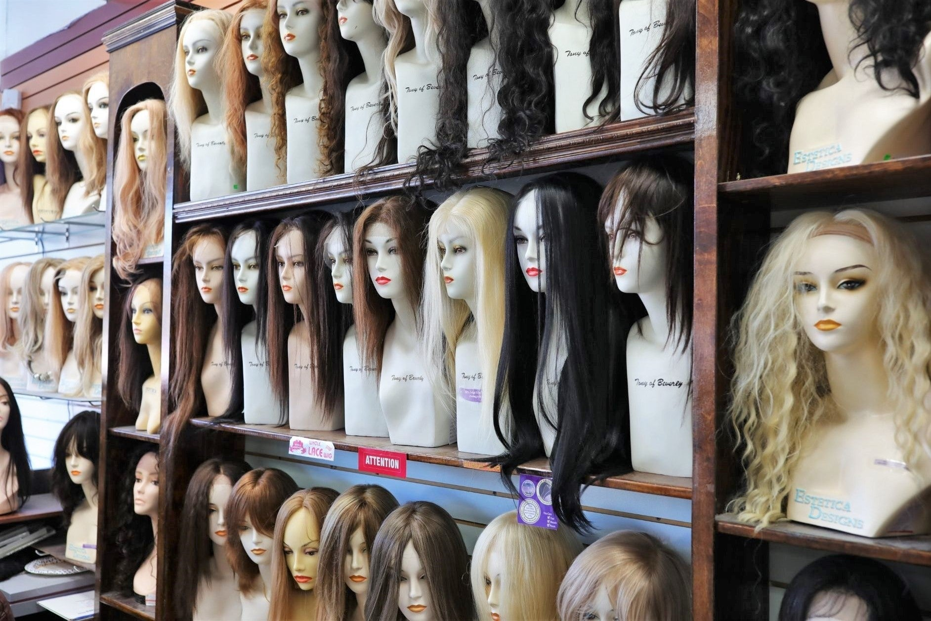 wigs displayed at wig ave