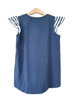 Blue T-shirt with striped short sleeves Little Marcel, 14-16 yrs (164 cm) Little Marcel  (4602531872823)