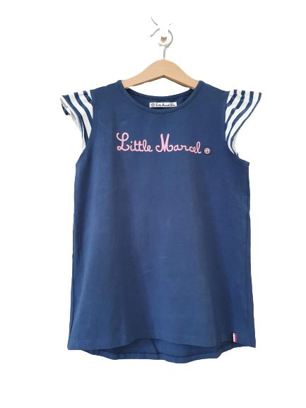 Blue T-shirt with striped short sleeves