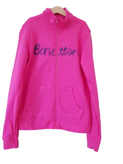 Pink sweatshirt with front zip