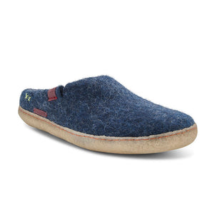 Classic Slipper - Navy Blue with Rubber
