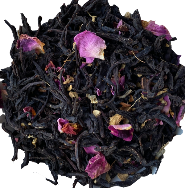Hearth and Home Tea, Ceylon OP Black Tea, Organic Cinnamon, Organic Ginger, Organic Gingerbread flavor (cinnamon, ginger, allspice, nutmeg, alcohol-free), Organic Red Rose Petals