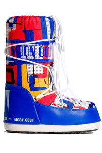 ŚNIEGOWCE MOON BOOT JR BOY ABSTRACT ROYAL BLUE/YEL
