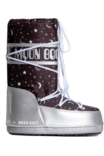 ŚNIEGOWCE MOON BOOT JR GIRL UNIVERSE SILVER/BLACK