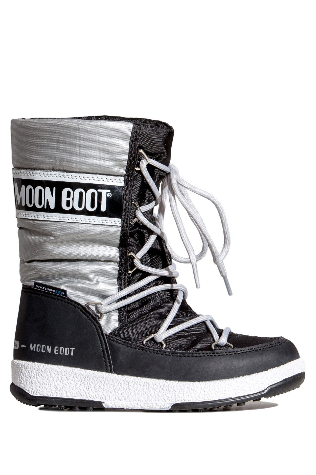ŚNIEGOWCE MOON BOOT JR G QUILTED WP BLACK SILVER