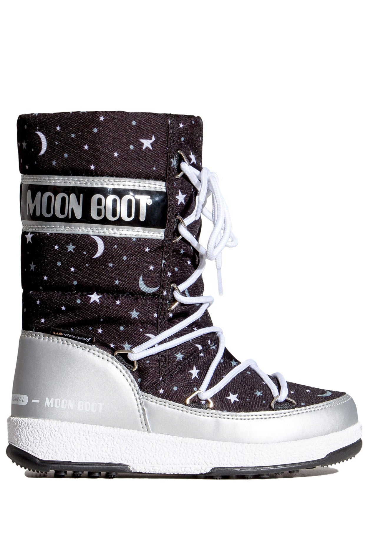 ŚNIEGOWCE MOON BOOT JR GIRLQ UNIVERSE WP SILVER BL