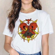 T Shirt Crâne Diable Rouge