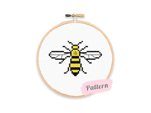 Cross stitch design of a bee