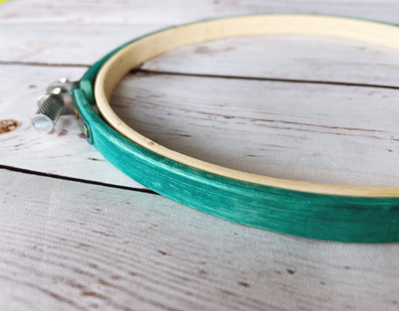 Metallic Teal Embroidery Hoop