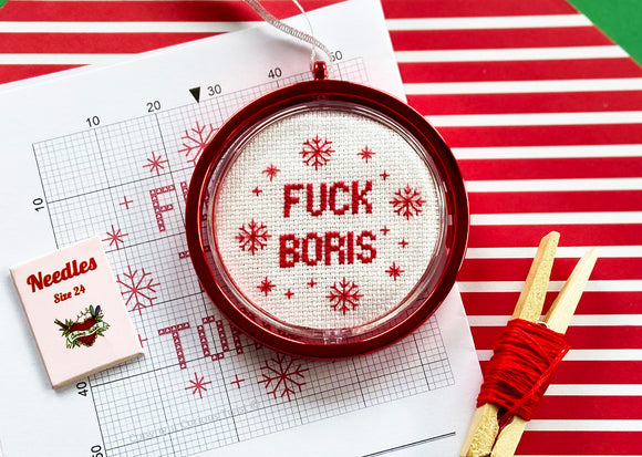 F*ck Boris and F*ck The Tories - Double Sided Christmas Cross Stitch Bauble Kit