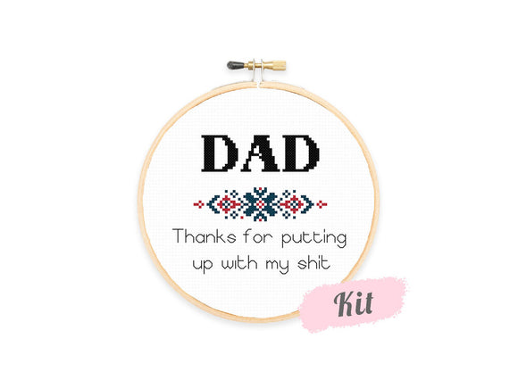 Thanks Dad Cross Stitch Kit For Beginners