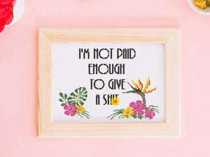 I'm Not Paid Enough To Give A Sh*t - Downloadable Cross Stitch Pattern PDF