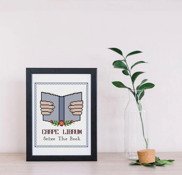 A framed cross stitch featured hands holding a book that reads 'CARPE LIBRUM seize the book'. To the right of the cross stitch is a potted plant