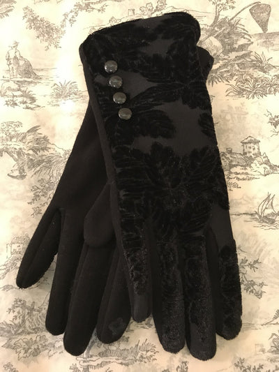 ACN / Black Velvet Gloves W/ Buttons