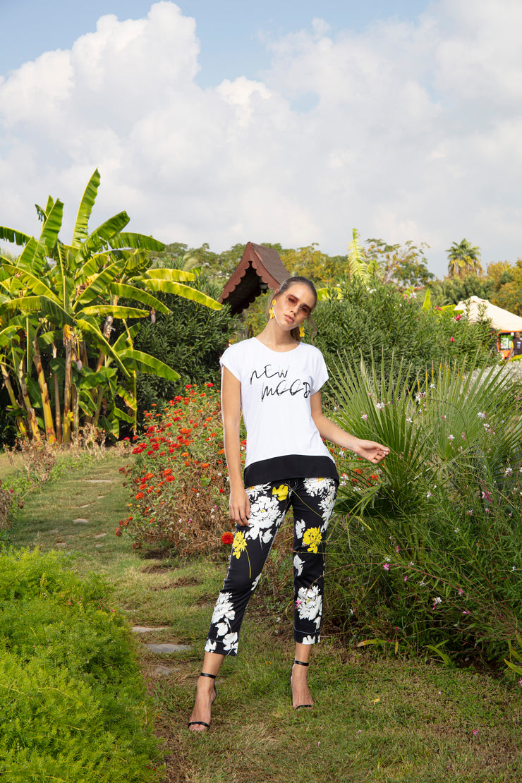 DOLCEZZA / Black & Yellow Floral Pant