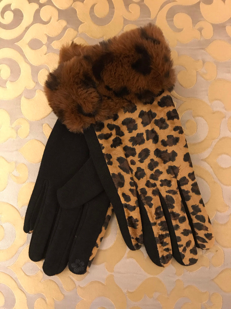 ACN / Tan Animal Print With Fur Cuff