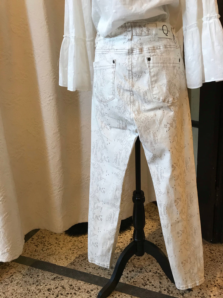 ESQUALO / White Jeans With Snake Print