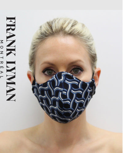 FRANK LYMAN MASK / Black W/ Blue/White Chain Wave Design