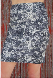 LAURA HLAVAC / Blue/grey Floral Straight Skirt 1012.498.Gry