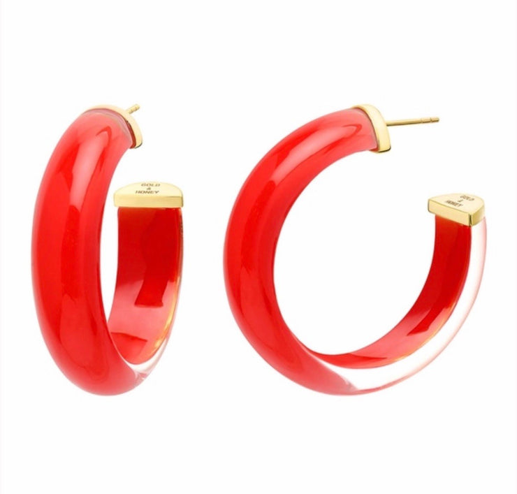 GOLD & HONEY / Red Lucite Round Hoops
