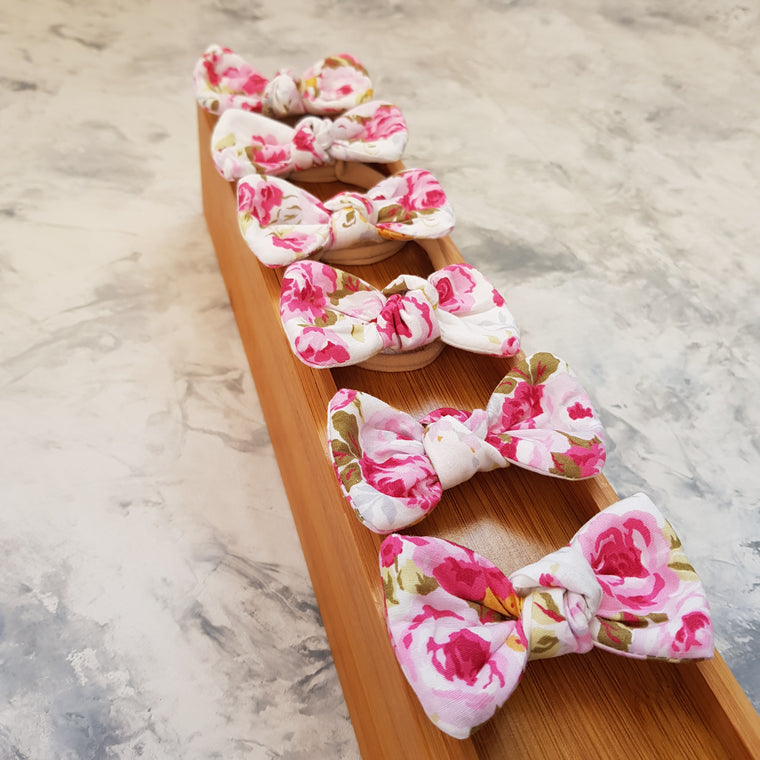 Tiny Trends NZ: Floral Twist Bow - Cream & Pink